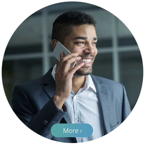 Stock photograph of a man talking on a smartphone and smiling with a button overlaid on top saying,