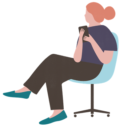 Illustration of a woman sitting in a chair holding a smartphone