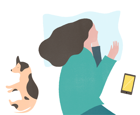 Illustration of sleeping woman next to her phone