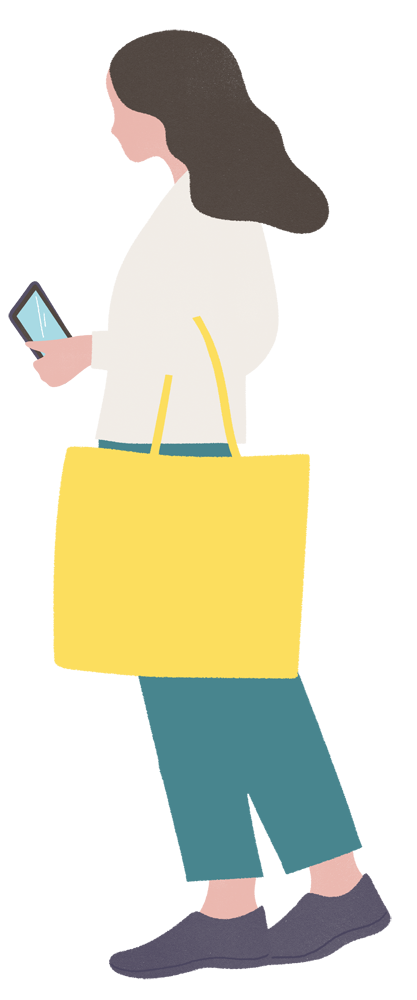 Illustration of a woman in profile, holding a yellow handbag over her elbow and a smartphone in the other hand