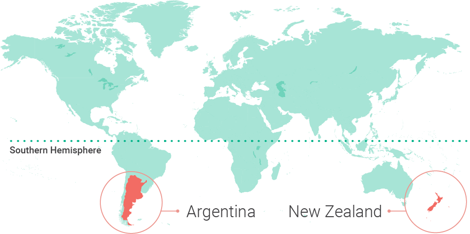 World map highlighting Argentina and New Zealand