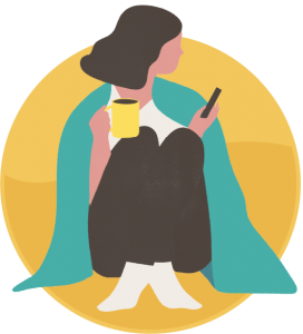 Illustration: woman in a blanket on phone